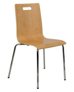 Plywood chair TDC-132 with hole - chrome-plated frame.