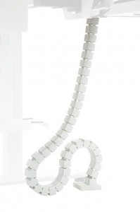 Vertical cable channel for electric adjustable desk frame, white colour