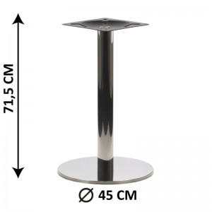 Table base SH-2001-1/P, 45x45 cm, polished stainless steel, plastic bottom plate weight (table leg)