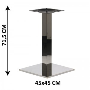Table base SH-2002-1/P, 45x45 cm, polished stainless steel, plastic bottom plate weight (table leg)