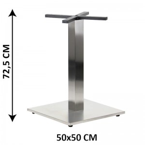 Table base SH-2002-2/S, 50x50 cm, brushed stainless steel, plastic bottom plate weight (table leg)