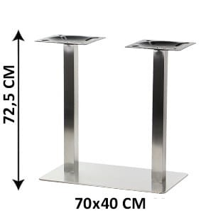 Double table base SH-3003-1/S/6, 70x40 cm, brushed stainless steel (table leg)