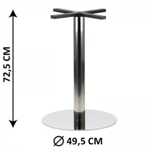 Table base SH-3001-6/P, fi 49,5 cm, polished stainless steel (table leg)