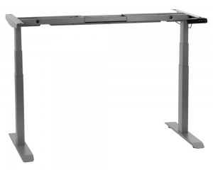 Steel desk frame with electric height adjustment (3-stage), aluminum colour. UT04-3T/A