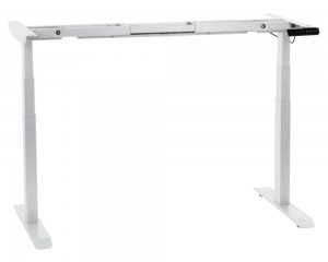 Steel desk frame with electric height adjustment (3-stage), white colour. UT04-3T/W