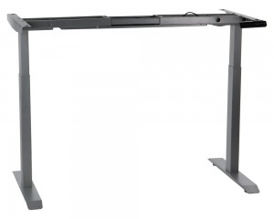 Steel desk frame with electric height adjustment (2-stage), aluminum colour. UT04-2T/A