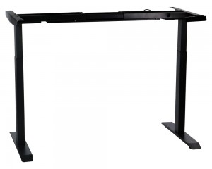 Steel desk frame with electric height adjustment (2-stage), black colour. UT04-2T/B
