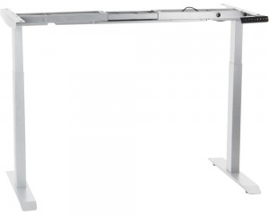 Steel desk frame with electric height adjustment (2-stage), white colour. UT04-2T/W