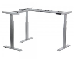 Steel desk frame(angular) with electric height adjustment (3-stage), aluminum colour. UT04-3T/90A/A