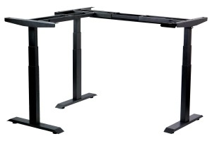Steel desk frame(angular) with electric height adjustment (3-stage), black colour. UT04-3T/90A/B