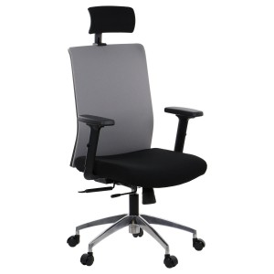 Office armchair RIVERTON - fabric backrest, headrest, aluminium base, different colours