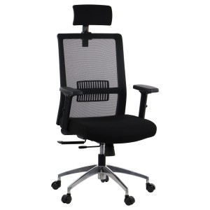Office armchair RIVERTON - mesh backrest, headrest, aluminium base, different colours