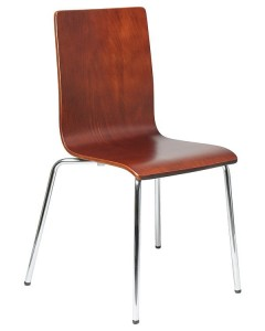 Plywood chair TDC-132, colour: walnut - chrome-plated frame.
