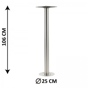 Floor mounted table base SH-3017-2/H/S, brushed stainless steel