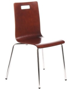 Plywood chair TDC-132 with hole, colour: walnut - chrome-plated frame.