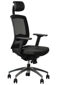 Office armchair  GN-301/BLACK with seat sliding system and aluminum base, swivel chair