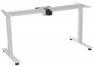 Steel desk frame with electric height adjustment, white colour. STE-01T