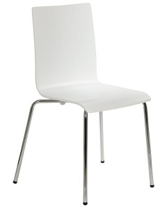 Plywood chair TDC-132, colour: white - chrome-plated frame.