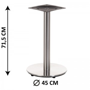 Table base SH-2001-1/S, brushed stainless steel, plastic bottom plate weight (table leg)