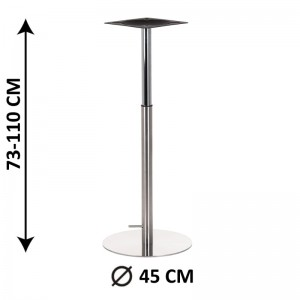 Table base SH-3019-2/S, brushed stainless steel, gas lifted base (table leg)