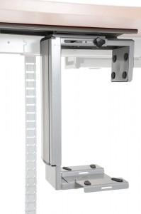 Under desk PC holder - large adjustment range, aluminum colour