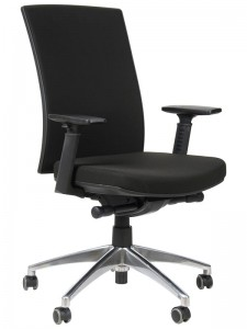Office armchair with seat slide system and aluminum base, KB-8922B-S/ALU/BLACK - swivel chair