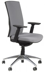 Office armchair with seat slide system and aluminum base, KB-8922B-S/ALU/GREY - swivel chair