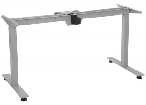 Steel desk frame with electric height adjustment, aluminum colour. STE-01T