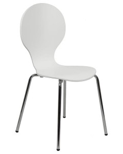 Plywood chair TDC-122, colour: white - chrome-plated frame.