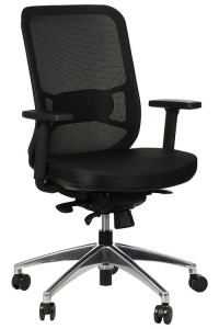 Swivel office chair GN-310/BLACK with seat sliding system and aluminum base