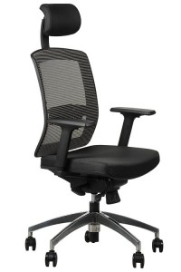 Office armchair  GN-301/GREY with seat sliding system and aluminum base, swivel chair