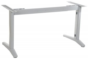 Steel desk frame with extensible beam, aluminum colour. STL-01