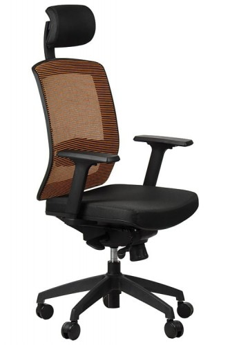 Office armchair GN-301/BLACK/ORANGE with seat sliding system ...